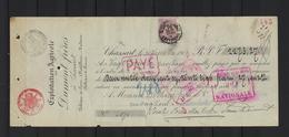 N°67 Perfin GESTEMPELD OP RECU Bruxelles Effets De Commerce 1900 COB € 600,00 - 1893-1900 Thin Beard