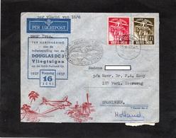 Nederlands Indie - LSC 1937 - Scoutisme Serie Jamboree (YT 212-213) - Enveloppe Illustrée De Batavia Pour Groningen - Nederlands-Indië