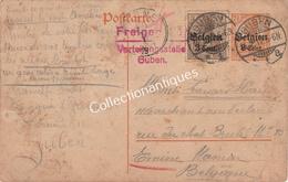 Entier Postal - 7 1/2 Ct Surtaxe Belgien 8 Cent Freigegeben Verteilungsstelle Guben Emine Timbre 3 Ct Surtaxe 3 Cent. - Occupazione 1914 – 18