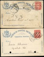 Mexico 2 Postal Cards MEPSI #PC84 Used S.Luis Petosi And CDMX 1899-1900  Cat. $14.00 - Messico