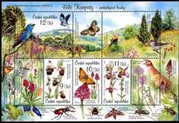 2007 Czech  Biosphere Reserve UNESCO Bile Karpaty - MNH ** Mi B 28 Songbirds, Butterfly, Flowers, Orchids - Czech Republic
