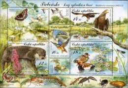 2008 Czech Biosphere Reserve UNESCO Trebonsko - MNH ** Mi B 30 Eagles, Otter, Ducks, Heron, Salamander, Kingfisher - Repubblica Ceca