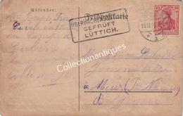 CPA überwachungsstelle Geprüft Lüttich Lège 1916 Guben Vers Meux TP 10 Cent. Rose - Occupazione 1914 – 18