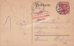 CPA Freigegeben Verteilungsstelle Guben Brandebourg Vers Emines -TP 10 Cent. Rose 1917 - Occupazione 1914 – 18