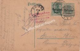 Entier Postal 5 Cent.surtaxe Belgien 5 Cent. TP 5ct Surtaxe Belgien 5 Cent. Freigegeben Verteilungsstelle Guben Emine - Occupation 1914-18