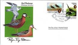 FDC MARSHALL ISLANDS, Birds  /  Oiseaux, ÎLE MARSHALL; Lettre De Première Jour, PHALAROPUS FULICARIUS - Vögel