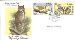 FDC RWANDA, Birds  /  Oiseaux, RWANDA; Lettre De Première Jour, BUBO VIRGINIANUS - Eulenvögel