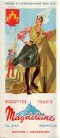 Ancien Buvard Publicitaire BISCOTTES MAGDELEINE POITOU - Zwieback