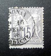 FRANCE 1876 N°77IIA OBL. (SAGE N/U. 15C GRIS SUR GRIS PÂLE. TYPE IIA) - 1876-1898 Sage (Type II)