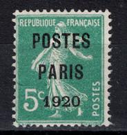 PREOBLITERE (*) N° 24 B Surcharge POSTES PARIS 1920 (cote 170€) / Semeuse Camée 5c Preo De France - 1893-1947