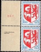 France Roulette N° 1468_a Et 1468 B ** Armoiries D'Auch. Variété En Paire Dont Numéro Rouge - Rollen