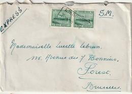 COB 726 (X2) SUR LETTRE EXPRES DE LIEGE-GINS VERS BRUXELLES/ - Lettres & Documents