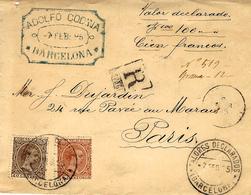 1895- DEVANT ( Front ) D'enveloppe RECC. V D 100  F Affr. 50 C. Oblit. Valores Declarados / BARCELONA - 1889-1931 Königreich: Alphonse XIII.