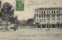 Rue Catinat Saigon + Beau Timbre 5c Indochine RV - Vietnam