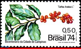Ref. BR-1366 BRAZIL 1974 AGRICULTURE, BRANCH OF COFFEE, CITY OF, CAMPINAS, 200 YEARS, MI# 1458, MNH 1V Sc# 1366 - Agriculture