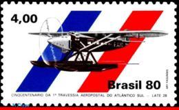 Ref. BR-1700 BRAZIL 1980 PLANES, AVIATION, SOUTH ATLANTIC CROSSING,, 1ST AIRMAIL FLIGHT, MI# 1769, MNH 1V Sc# 1700 - Nuovi