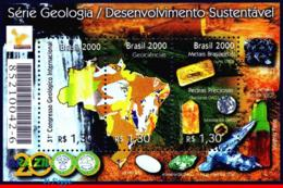 Ref. BR-2743 BRAZIL 2000 - GEOLOGY, SUSTAINABLE DEVELOPMENT,, HANOVER, GEMSTONES, MI# B111, S/S MNH,3V Sc# 2743 - Minerali