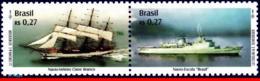 Ref. BR-2753 BRAZIL 2000 SHIPS, BOATS, SAILBOAT AND TRAINING, SHIP, MI# 3045-46, SET MNH 2V Sc# 2753 - Schiffe