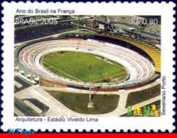 Ref. BR-2959B BRAZIL 2005 FOOTBALL SOCCER, BRAZIL YEAR IN FRANCE,, ARCHITECTURE, VIVALDO LIMA STADIUM,MNH 1V Sc# 2959B - Architettura