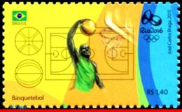 Ref. BR-3318K BRAZIL 2015 SPORTS, OLYMPIC GAMES, RIO 2016,, BASKETBALL, STAMP OF 4TH SHEET, MNH 1V Sc# 3318K - Eté 2016: Rio De Janeiro