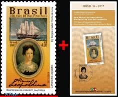 Ref. BR-V2017-19+E BRAZIL 2017 HISTORY, 200 YEARS INDEPENDENCE,, D.LEOPOLDINA, RELATIONS AUSTRIA, MNH 1V - Schiffe