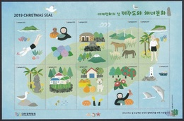 South Korea 2019 Christmas Seal, Tuberculosis, Jeju Island, Woman Diver, Horse, Lighthouse, Dolphin, Dog, Full Sheet - Protection De L'environnement & Climat