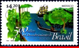 Ref. MX-2184 MEXICO 2000 HISTORY, DISCOVERY OF BRAZIL,, 500 YEARS, MI# 2834, MNH 1V Sc# 2184 - Bateaux