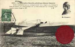 Le Monoplan Hanriot Piloté Par Marcel Hanriot + Timbre 5c Cachet Rouen Aviation + Cachet Cire Grand Merting Aviation Rou - Meetings
