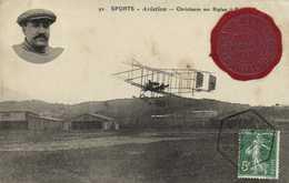 SPORTS  Aviation Christiaens Sur Biplan + Timbre 5c Cachet Rouen Aviation + Cachet Cire Grand Merting Aviation Rouen 191 - Meetings