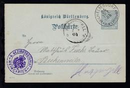 Ziffer 2 Pfg. Dienstpostkarte Des K. Bezirksnotariat Weingarten Ab Wilhelmsdorf - Wurttemberg