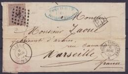 """L. Affr. N°19 Lpts """"217"""" Càd LIEGE /6 NOV 1868 Pour Fabriquant D'armes à MARSEILLE [P.D.] Càd """"BELG. A ERQUELINNES"""" (au - 1865-1866 Profilo Sinistro"""