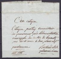 L. Pressée (Citot Citot) En Franchise Datée 30 Nivôse An 8 D'un Lieutenant De Gendarmerie De ARRAS Pour BAUMETZ (Beaumet - Marcofilia (sobres)