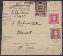 """Autriche - Bulletin D'expédition Affr. Tps Poste Militaire K.u.K Feldpost Càd """"K.U.K. ETAPPENPOSTAMT /24.X.1918/ MIECHOW - 1850-1918 Impero"""
