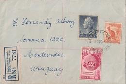 AUSTRALIE - LETTRE DE RECOMMANDEE POUR MONTEVIDEO URUGUAY - LE 8 MARS 1955 - BONNE DESTINATION. - 1952-65 Elizabeth II : Pre-Decimals