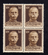 ITALIA REGNO ITALY KINGDOM 1944 REPUBBLICA SOCIALE ITALIANA RSI IMPERIALE SENZA FASCI CENT 30c MNH QUARTINA BLOCK - Nuovi