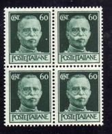 ITALIA REGNO ITALY KINGDOM 1944 REPUBBLICA SOCIALE ITALIANA RSI IMPERIALE SENZA FASCI CENT 60c MNH QUARTINA BLOCK - Nuovi