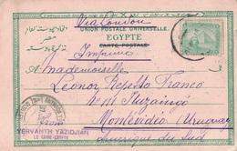 EGYPTE - ENTIER POSTAL DU CAIRE POUR MONTEVIDEO URUGUAY - MANUSCRIT VIA LONDRES - LE 2-7-1902 - DESTINATION. - Ägypten