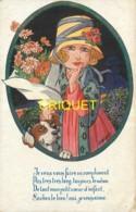 Illustrateur, Wuyts, Jeune Fille Avec Chien Et Bouquet De Fleurs, Série Tendresses Enfantines - Wuyts