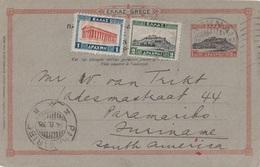 GRECE - ENTIER POSTAL D'ATHENES POUR PARAMARIBO AU SURINAME - GUYANE NEERLANDAISE AMERIQUE DU SUD - LE 9-8-35 - Brieven En Documenten