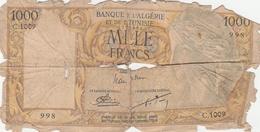 BILLET 1000 FRANCS-BANQUE ALGERIE--MAUVAIS ETAT--VOIR SCANNER - Algerien
