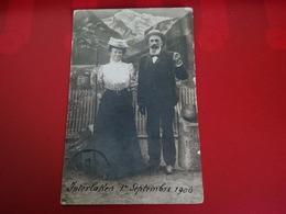 CARTE PHOTO INTERLAKEN 1906 MONTAGE AVEC MONTAGNE - BE Berne