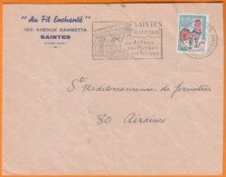 """"""" AU FIL ENCHANTE  """" Sur Enveloppe PUB De 17 SAINTES Char-mme  Postée Le 13 12 1967 Avec Omec Sécap + Coq Decaris 30c - Advertising"""