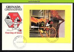 Nfe1731b WALT DISNEY MICKEY BRANDWEERMAN FIREFIGHTER FIREMAN GRENADA GRENADINES 1979 FDC - Brandweer