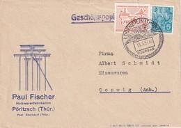DDR 1957 LETTRE DE PÖRITZSCH ÜBER LOBENSTEIN - Storia Postale