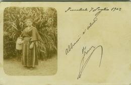 PORTUGAL - FUNCHAL - NATIVE WOMAN - RPPC POSTCARD 1902 - OVERPRINT STAMP ( BG6114) - Madeira
