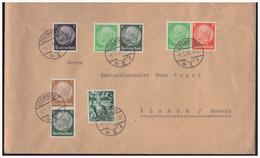 Dt- Reich (005185) Brief Mit Diversen Zusammendrucken Gelaufen Mit Tagesstempel Chemnitz Nach Glarus (Schweiz) 1938 - Se-Tenant