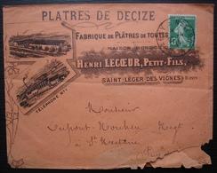 Saint Léger Des Vignes (Nièvre) 1914 Maison Bondoux  Plâtres De Decize Convoyeur Chagny à Nevers - Marcophilie (Lettres)