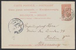 """EP Au Type 10ctm Orange Fine Barbe Obl Simple Cercle """"Bruxelles / Exposition""""(1897) Vers Berlin W / Bruxelles - Tervuren - Ganzsachen"""