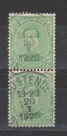 COB 137 En Paire Oblitération Centrale OOSTENDE - 1915-1920 Albert I.