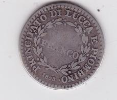Principato Di Yucca E Piombino 1808 Felice. Ed  Elisa   Rare Pièce Argent - Monnaies Régionales